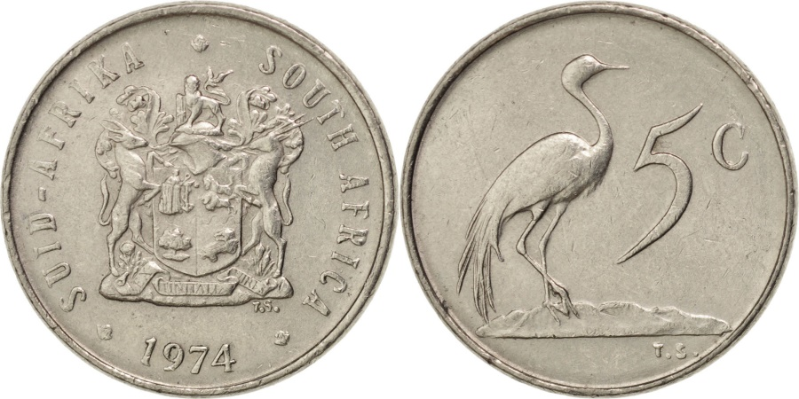 World Coins - SOUTH AFRICA, 5 Cents, 1974, KM #84, , Nickel, 17.35, 2.48
