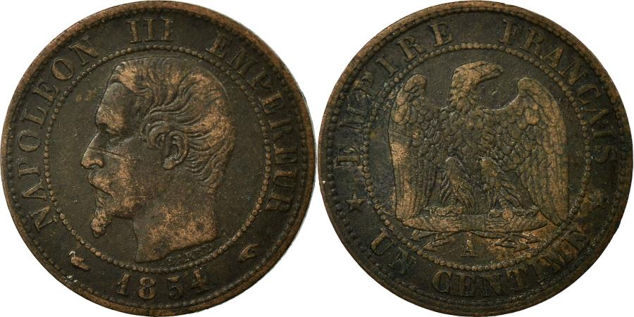 World Coins - Coin, France, Napoleon III, Napoléon III, Centime, 1854, Paris,