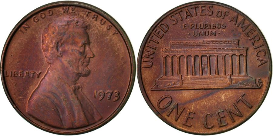 US Coins - United States, Lincoln Cent, Cent, 1973, U.S. Mint, Philadelphia,