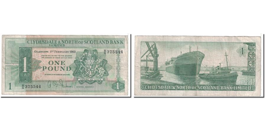 World Coins - Banknote, Scotland, 1 Pound, 1963, 1963-02-01, KM:195a, VF(20-25)