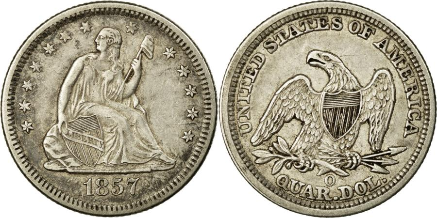 US Coins - Coin, United States, Seated Liberty Quarter, Quarter, 1857, U.S. Mint, New