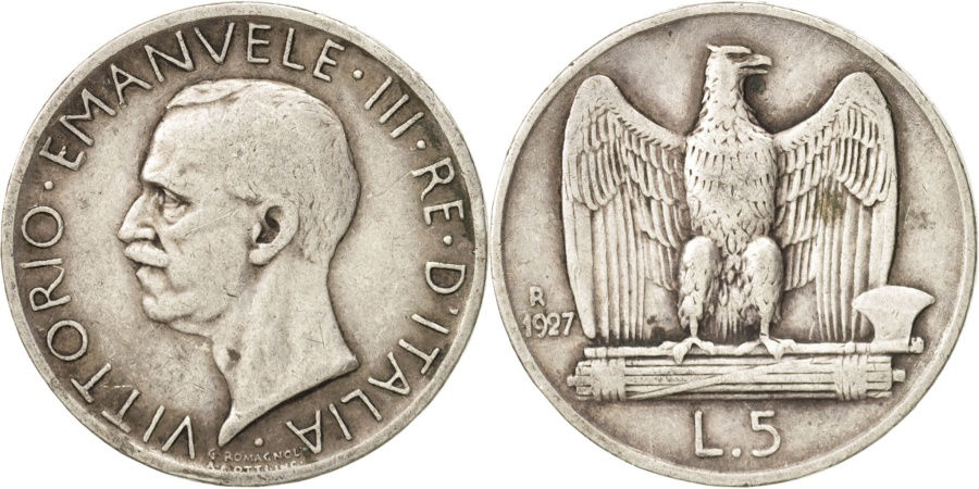 World Coins - Italy, Vittorio Emanuele III, 5 Lire, 1927, Rome, , Silver, KM:67.2