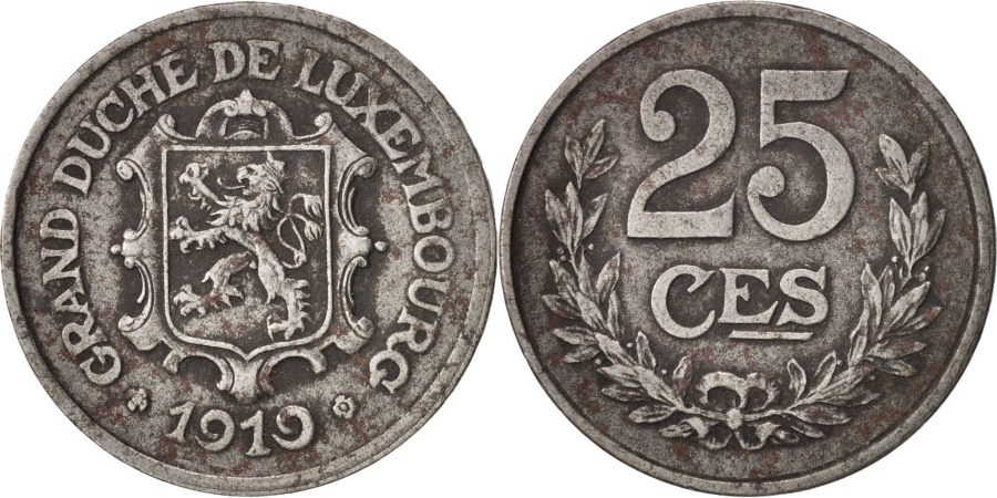 World Coins - Luxembourg, Charlotte, 25 Centimes, 1919, , Iron, KM:32