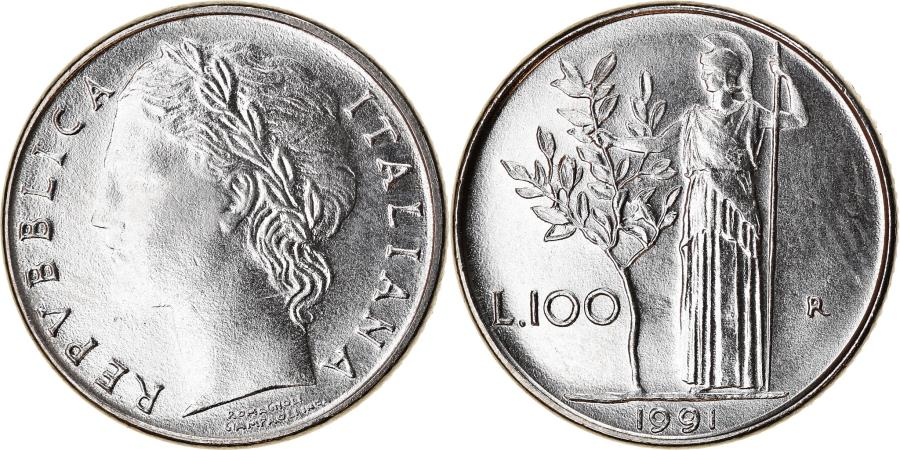 World Coins - Coin, Italy, 100 Lire, 1991, Rome, , Stainless Steel, KM:96.2