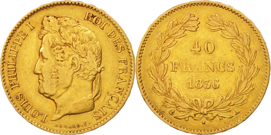 World Coins - France, Louis-Philippe, 40 Francs, 1836, Paris, , Gold, KM:747.1