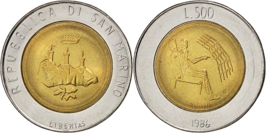 World Coins - SAN MARINO, 500 Lire, 1986, KM #195, , Bi-Metallic, 25.8, 6.78