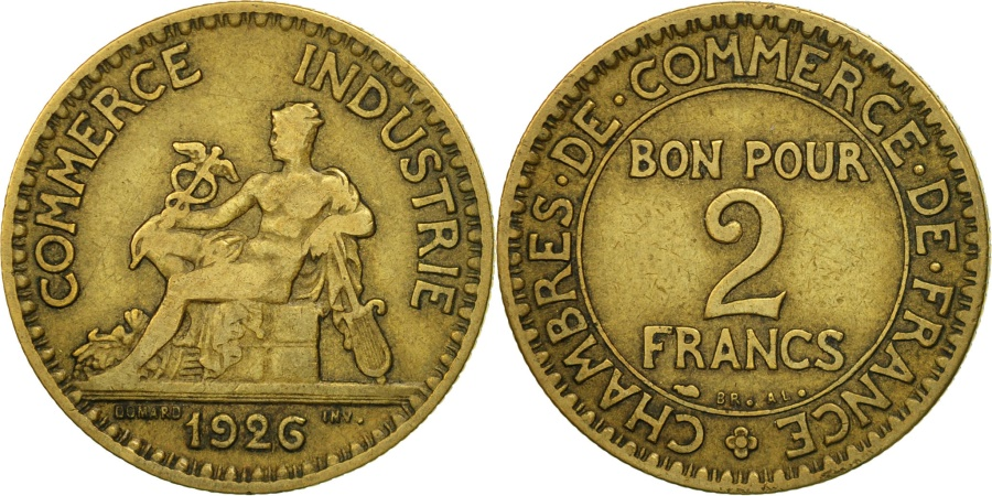 France chambre de commerce 2 francs 1926 paris ef 40 for Chambre de commerce de paris