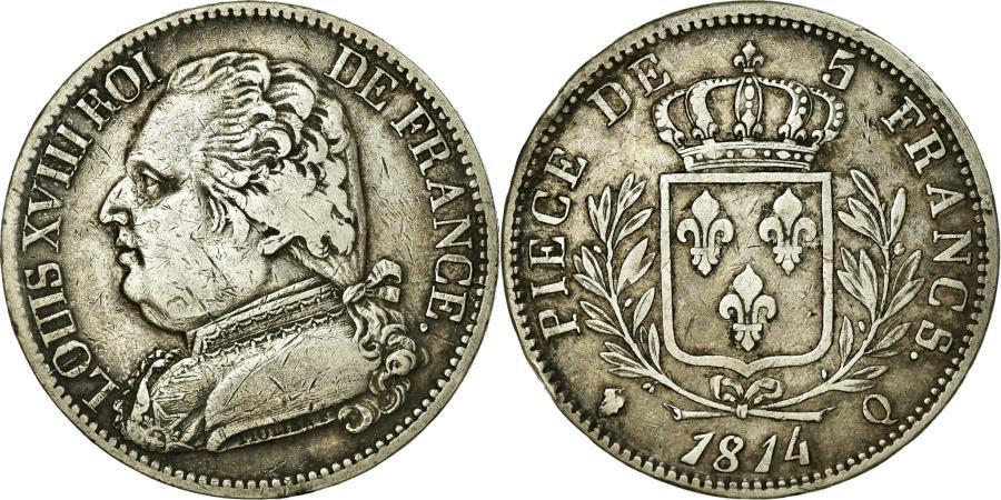 World Coins - Coin, France, Louis XVIII, Louis XVIII, 5 Francs, 1814, Perpignan, AU(50-53)