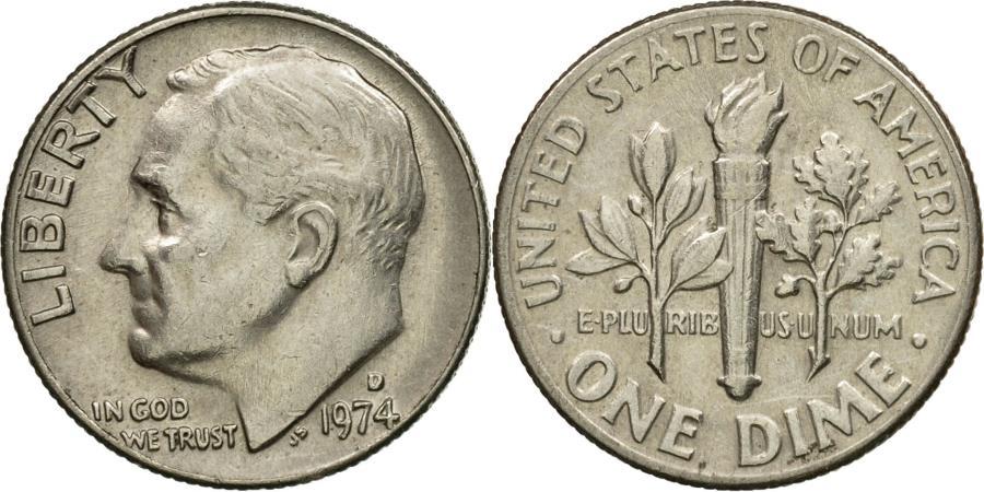 US Coins - Coin, United States, Roosevelt Dime, Dime, 1974, U.S. Mint, Denver,