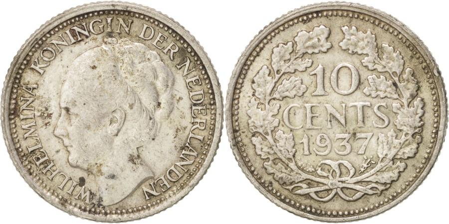 World Coins - Netherlands, Wilhelmina I, 10 Cents, 1937, , Silver, KM:163