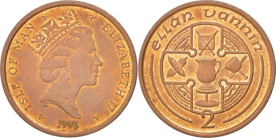World Coins - ISLE OF MAN, 2 Pence, 1992, KM #208, , Bronze, 25.91, 7.13