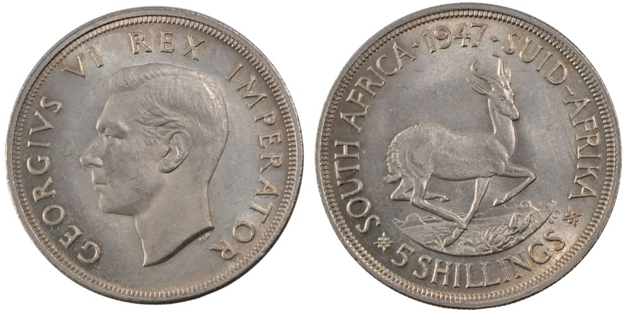 World Coins - SOUTH AFRICA, 5 Shillings, 1947, KM #31, , Silver, 38.8, 28.47