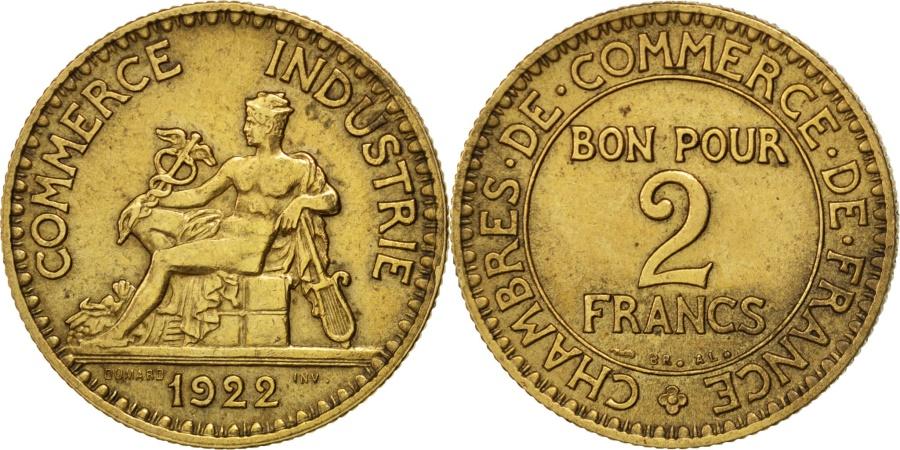 World Coins - FRANCE, Chambre de commerce, 2 Francs, 1922, Paris, KM #877, ,...