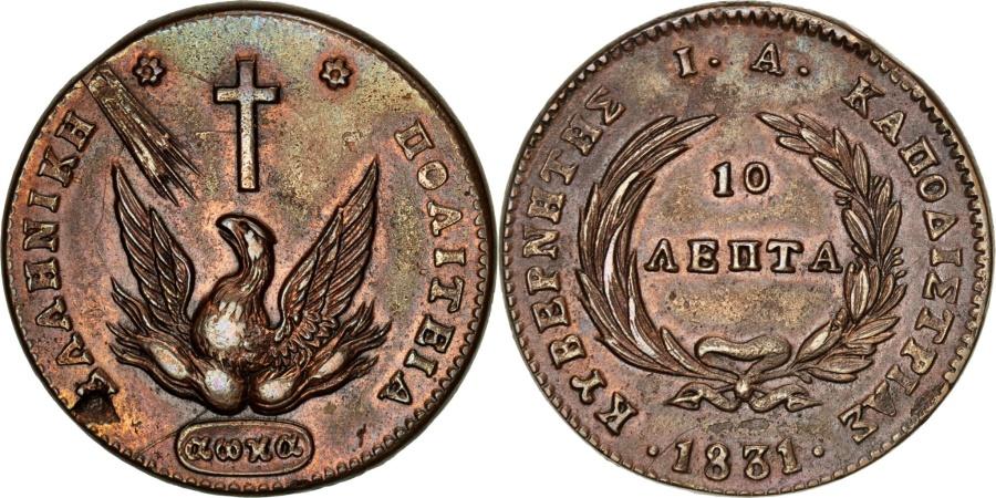 World Coins - GREECE, 10 Lepta, 1831, KM #12, , Copper, 16.06