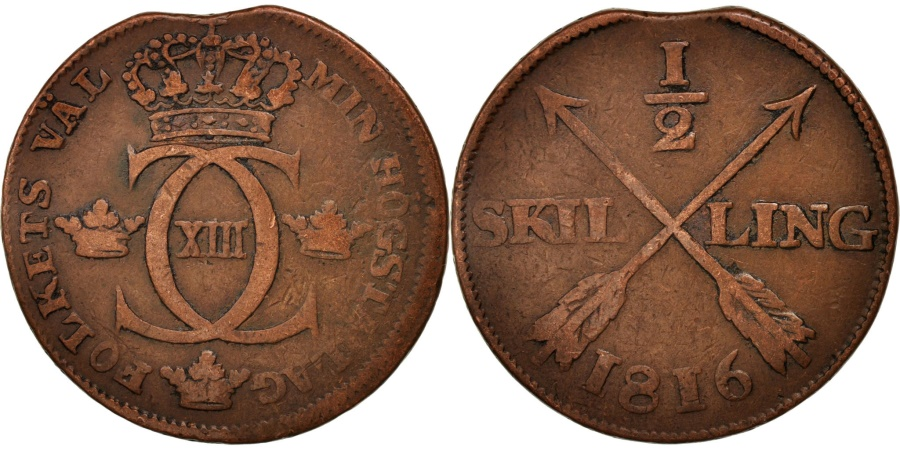 World Coins - Sweden, Carl XIII, 1/2 Skilling, 1816, , Copper, KM:590