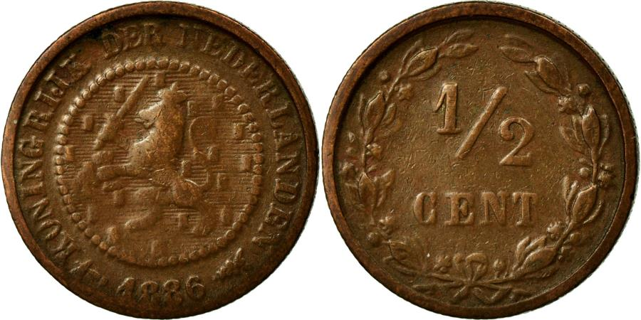 World Coins - Coin, Netherlands, William III, 1/2 Cent, 1886, VF(20-25), Bronze, KM:109.1