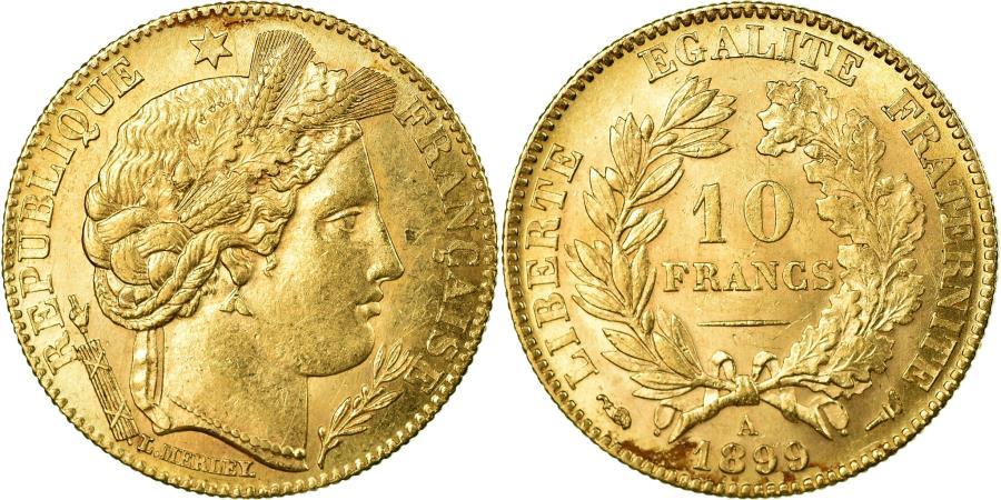 World Coins - Coin, France, Cérès, 10 Francs, 1899, Paris, AU(55-58), Gold, KM:830