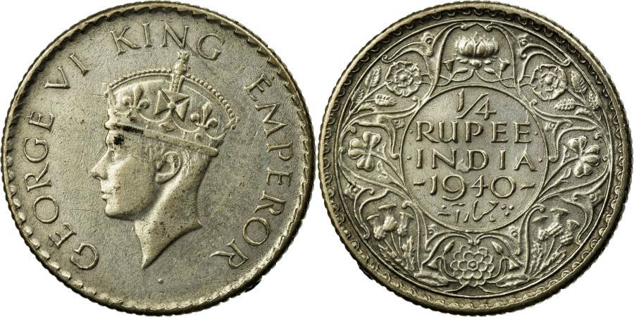 Coin, INDIA-BRITISH, George VI, 1/4 Rupee, 1940, , Silver, KM:545