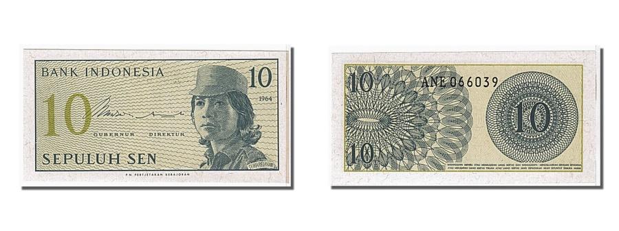 World Coins - Indonesia, 10 Sen, 1964, KM #92a, UNC(65-70), ANE066039