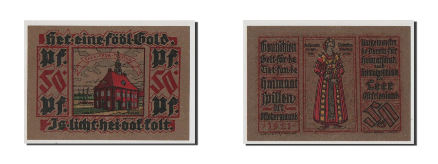 World Coins - Germany, Leer, 50 Pfennig, 1921, 1921-10-01, UNC(65-70), Mehl #782.1