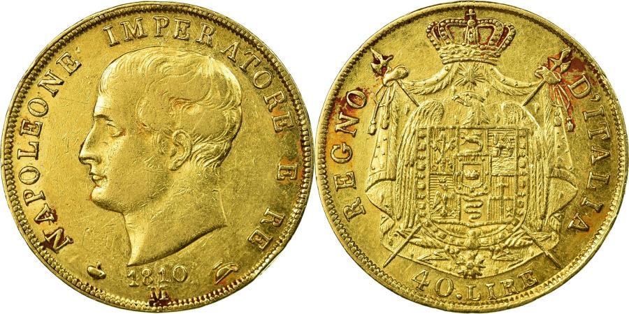 World Coins - Coin, ITALIAN STATES, KINGDOM OF NAPOLEON, Napoleon I, 40 Lire, 1810, Milan