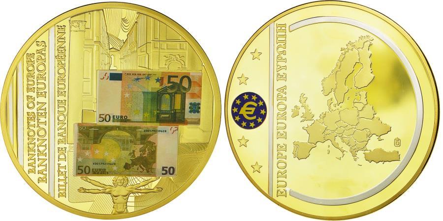 World Coins - France, Medal, Europe, Billets de Banque Européenne, , Copper Gilt