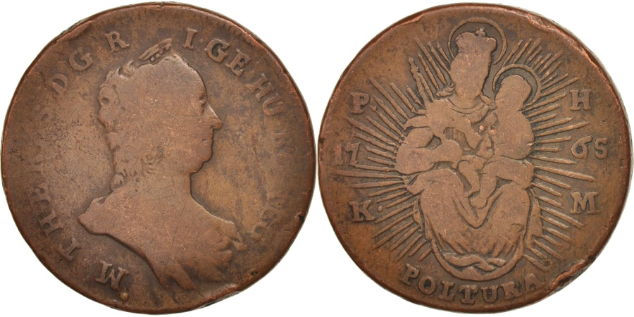 World Coins - Hungary, Maria Theresia, Poltura, 1765, Kremnitz, , Copper, KM:377.1