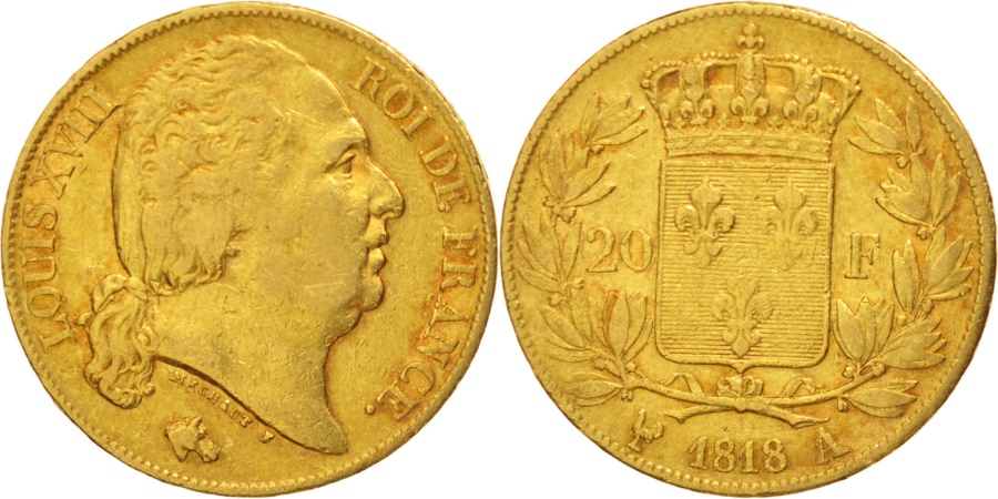 World Coins - France, Louis XVIII, 20 Francs, 1818, Paris, , Gold,KM712.1,Gadoury1028