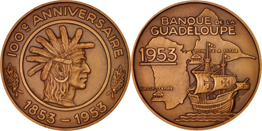 World Coins - France, Banque de la Guadeloupe, Centenaire, Business & industry, 1953, Medal