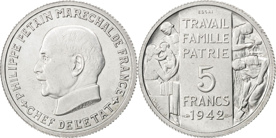 World Coins - FRANCE, 5 Francs, 1942, KM #Pn109, , Copper-Nickel, Gadoury #143.3,...