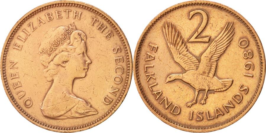World Coins - Falkland Islands, Elizabeth II, 2 Pence, 1980, KM:3