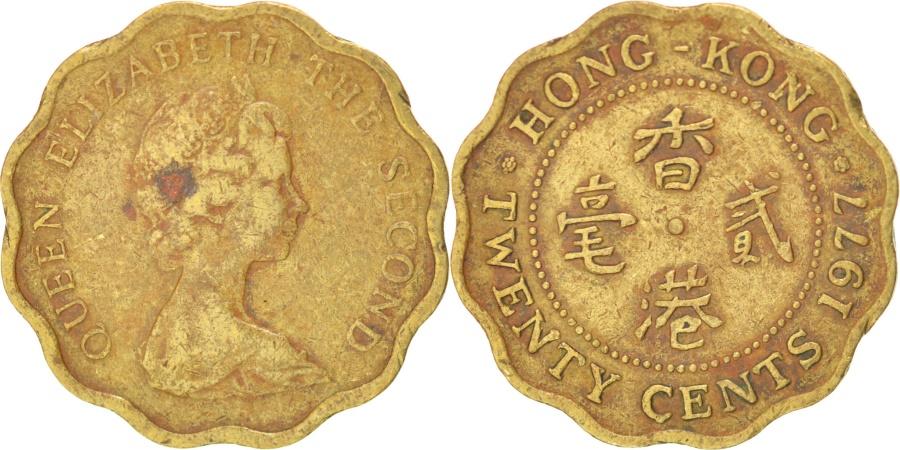 World Coins - HONG KONG, 20 Cents, 1977, KM #36, , Nickel-Brass, 19, 2.57