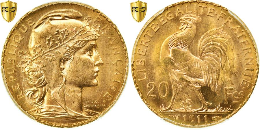 World Coins - Coin, France, Marianne, 20 Francs, 1911, PCGS, MS64, Gold, KM:857, graded