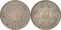 Morocco, Mohammed V, 10 Francs, 1946, Paris, MS(60-62), Copper-nickel, KM:44