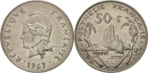 World Coins - French Polynesia, 50 Francs, 1967, EF(40-45), Nickel, KM:7