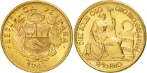 World Coins - Peru, 10 Soles, 1965, Lima, MS(63), Gold, KM:236