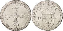 France, Henri III, 1/4 Ecu, 1587, Rouen, EF(40-45), Silver, Sombart:4662