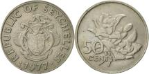 World Coins - Seychelles, 50 Cents, 1977, British Royal Mint, EF(40-45), Copper-nickel, KM:34