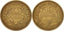 World Coins - Tunisia, Anonymous, 50 Centimes, 1933, Paris, EF(40-45), Aluminum-Bronze, KM:246