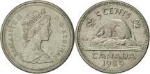 World Coins - Canada, Elizabeth II, 5 Cents, 1989, Royal Canadian Mint, Ottawa, AU(50-53)