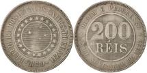 World Coins - Brazil, 200 Reis, 1889, EF(40-45), Copper-nickel, KM:493