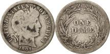 United States, Barber Dime, Dime, 1907, U.S. Mint, Philadelphia, F(12-15)