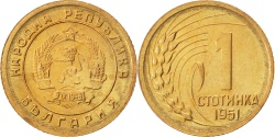 World Coins - BULGARIA, Stotinka, 1951, KM #50, , Brass, 15.2, 1.00