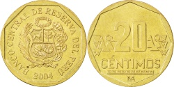 World Coins - PERU, 20 Centimos, 2004, Lima, KM #306.4, , Brass, 23, 4.46