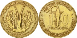 World Coins - West African States, 10 Francs, 1975, , Aluminum-Nickel-Bronze, KM:1a