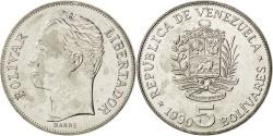 World Coins - VENEZUELA, 5 Bolivares, 1990, KM #53a.2, , Nickel Clad Steel, 31, 13.45