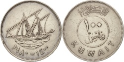 World Coins - Kuwait, Jabir Ibn Ahmad, 100 Fils, 1980, , Copper-nickel, KM:14