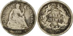 Us Coins - United States, Seated Liberty Half Dime, 1861, Philadelphia, VF, KM:91