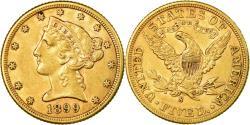 Us Coins - Coin, United States, Coronet Head, $5, Half Eagle, 1899, U.S. Mint, San