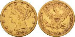 Us Coins - United States, Coronet Head, $5, 1898, San Francisco, EF(40-45,KM 101